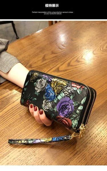 長夾/手拿包 女士錢包長款雙拉錬錢夾手機包雙層皮夾大容量手拿包 果果輕時尚