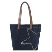 【南紡購物中心】agnes b 鑲鑽星星牛仔單寧手提包(藍)
