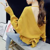 性感露背小清新毛衣女甜美套頭上衣寬鬆2019秋裝新款慵懶風毛線衣