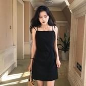 一字领洋装 泫雅吊帶洋裝網紅露肩A字黑色打底裙子女夏裝2021流行新款顯瘦