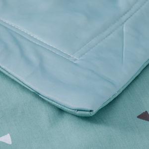 印花涼感紗薄被 墨綠三角