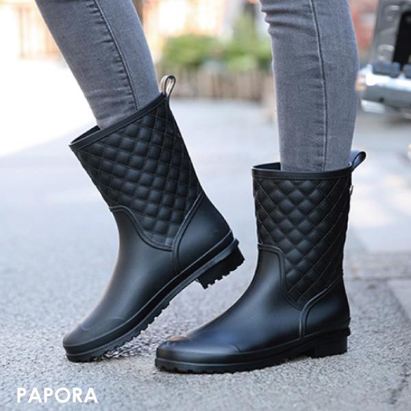 菱格紋防水半筒雨靴雨鞋短靴K913黑PAPORA