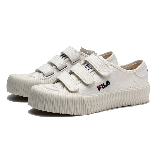 FILA 餅乾鞋 米白 黏帶 魔鬼氈 基本款 刺繡 休閒鞋 情侶鞋 男女 (布魯克林) 4C319T111