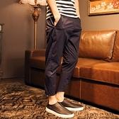 休閒長褲(九分)-顯長修身日系潮流男小腳褲子3色73s9【巴黎精品】