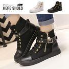 [Here Shoes]休閒鞋-跟高5.5CM 龐克金色骷髏鉚釘扣 皮革面中性率性 內增高半高筒休閒鞋 -KD8818