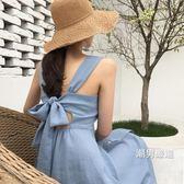 洋裝2018新品夏季復古吊帶連身裙性感高腰修身吊帶裙露背中長版裙子女S-XL
