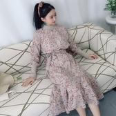 小個子秋季韓版圓領碎花系帶連身裙女長袖不對稱雪紡裙顯高 居享優品
