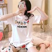 牛奶絲卡通圖案印花家居服套裝(上衣+短褲) 獨具衣格 J3696