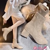 絨面高跟鞋 2021秋冬女靴子高跟歐美英倫時尚絨面短靴中跟粗跟百搭防滑女鞋子 小天使