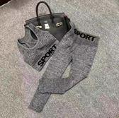 新款歐美健身套裝字母背心七分褲跑步運動兩件套修身瑜伽服女 【快速出貨】