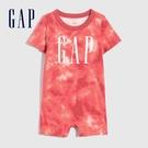 Gap嬰兒 Logo活力紮染短袖包屁衣 691282-陶器紅
