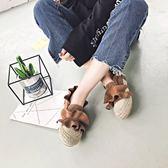 丁果女鞋35-39►2019新款韓版亞麻花邊褶皺木耳造型牛筋底時尚漁夫鞋一腳蹬懶人鞋樂福鞋*3色