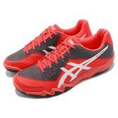 【六折特賣】Asics 排羽球鞋 Gel-Blade 6 六代 紅 銀 輕量SpEVA中底 運動鞋 女鞋【PUMP306】 R753N3093