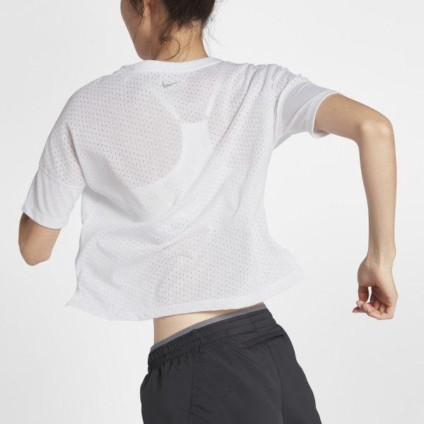 NIKE TAILWIND 女裝 短袖 慢跑 訓練 超透氣 舒適 短版 白 【運動世界】 890994-100