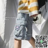 夏季工裝機能牛仔短褲男寬鬆大口袋休閒褲子學生國潮五分褲 海闊天空