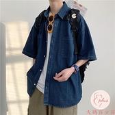 牛仔襯衫男夏季新款短袖襯衣青少年寬松休閑外套【大碼百分百】