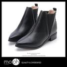 歐美尖頭鬆緊帶套腳切爾西靴 英倫復古V口踝靴短靴 mo.oh (歐美鞋款)