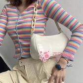 腋下包 白色小眾腋下包女法棍包包2020夏季新款潮網紅百搭ins鍊條斜背包