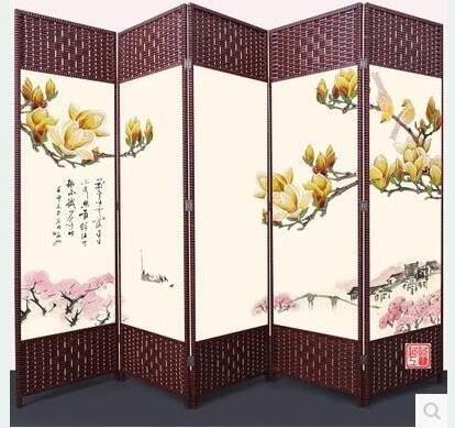 屏風隔斷折屏時尚客廳簡約現代中式折疊移動客廳臥室玄關布藝實木5