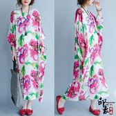 大尺碼洋裝文藝簡約舒適柔軟寬鬆長款仿天絲大花朵氣質連身裙長裙 店慶降價