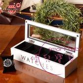 飾品實木質五格手錶盒 首飾收納盒收藏盒 儲物盒白黑棕色
