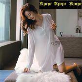 睡衣-蕾絲性感睡衣白襯衫長袖睡裙 衣普菈
