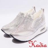 ★2017春夏新品★kadia.運動風造型鑽面休閒鞋(7028-88銀)