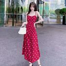 洋裝 點點吊帶連身裙-媚儷香檳-【D17...
