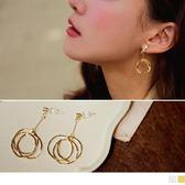 《ZC1563》鑽石垂墜不規則三圓圈造型耳環(耳針/耳夾) OrangeBear