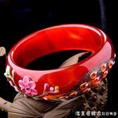 天然巴西紅瑪瑙手鐲彩繪孔雀雕花貝殼鑲嵌玉髓女鐲子 漾美眉韓衣