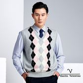 【Emilio Valentino】學院風時尚羊毛休閒背心 - 灰/粉