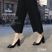 高跟鞋 粗跟粗跟單鞋女春款春季百搭中跟尖頭工作鞋子絨面職業黑色高跟鞋伊芙莎