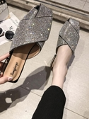 穆勒鞋 包頭半拖鞋女2019夏新款百搭粗跟水鉆懶人穆勒鞋網紅時尚外穿涼拖 免運 艾維朵
