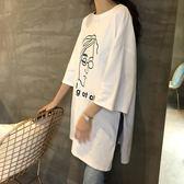 夏圓領開叉七分袖印花T恤寬鬆顯瘦中長款