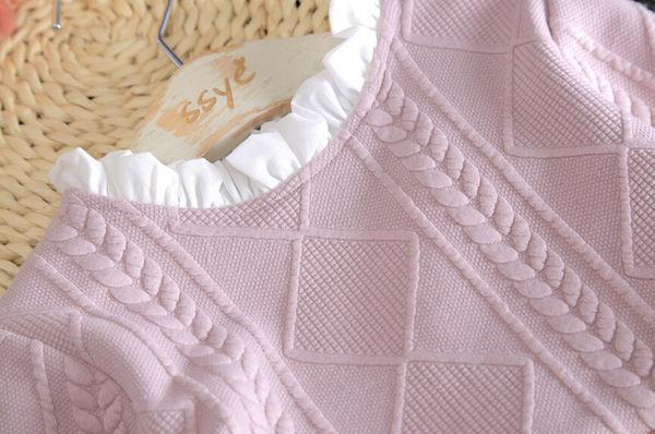 *╮S13小衣衫╭* 小花邊領壓花紋長袖紗裙洋裝 1051202