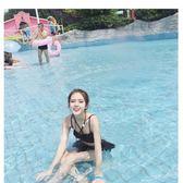 韓版小清新比基尼少女分體游泳衣女三件套溫泉性感高腰裙式     琉璃美衣