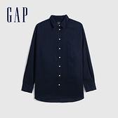 Gap女裝 亞麻通勤休閒長袖襯衫 660952-海軍藍