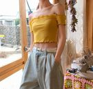 一字肩上衣 夏裝韓國chic純色短款減齡木耳邊針織衫修身露肩一字領短袖上衣女 歐歐流行館