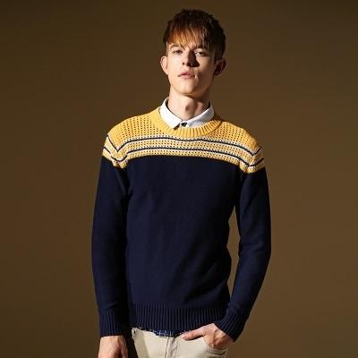 長袖針織衫-帥氣個性橫條設計男針織毛衣73ik46【時尚巴黎】
