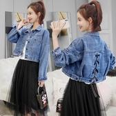 女寬鬆韓版 高腰牛仔外套短款流行百搭小個子衣服  潮流衣舍