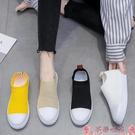 飛織鞋單鞋女夏2021新款韓版網面透氣飛織襪子鞋一腳蹬懶人平底休閒板鞋 芊墨 618大促