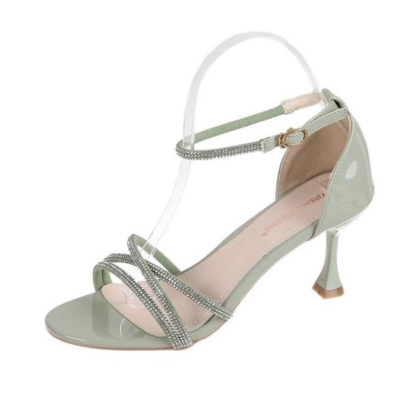 女鞋冬季涼鞋女2020年新款細跟夏天百搭鞋子羅馬水鉆一字帶高跟鞋 安雅家居館