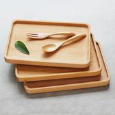 大號托盤櫸木質甜點面包西餐烘焙廚房日式長方木碟25cm st1523『伊人雅舍』