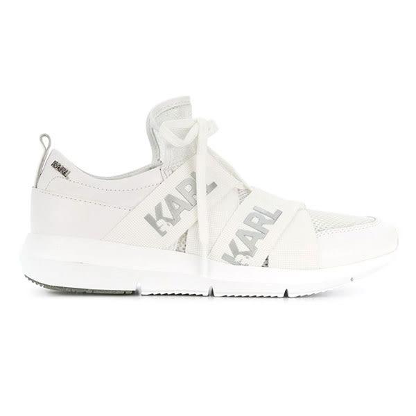 Karl Lagerfeld 卡爾 老佛爺 女鞋 VITESSE 輕量LOGO網布運動鞋-白