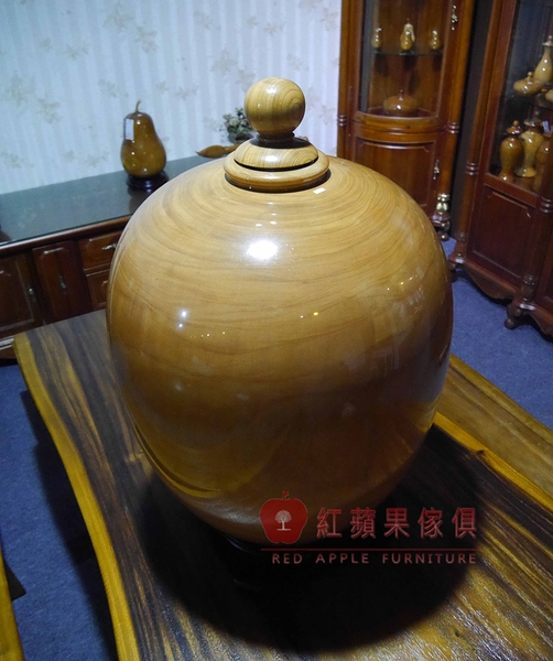 [紅蘋果傢俱] 004 聚寶盆 藝品 擺件 招財 南洋檜木 蓋子扁柏 現貨展示
