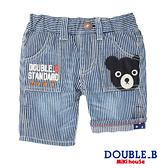 DOUBLE_B 黑熊刺繡休閒條紋薄牛仔褲(藍白直條)