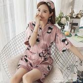 日式和服睡衣女夏冰絲短袖韓版清新學生真絲家居服兩件套裝可外穿 中秋節限時特惠