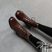 英倫風時尚短靴 真皮手工女靴 系帶百搭馬丁靴/2色-夢想家-標準碼-0925