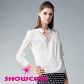 【SHOWCASE】知性V領交叉襟項鍊襯衫(白)