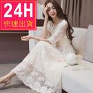 長洋裝 蕾絲伴娘短袖白色 韓版  婚禮小...